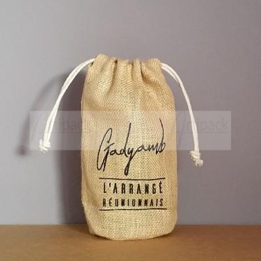 pochon en jute personnalisé pour bouteille