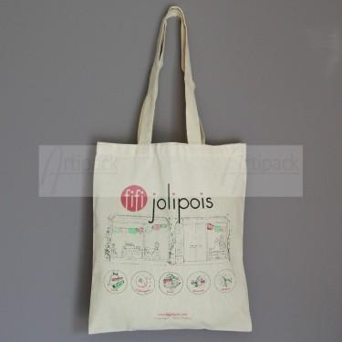 tote bag en coton imprimé en 3 couleurs