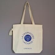 sac en coton pliable personnalisé avec fond