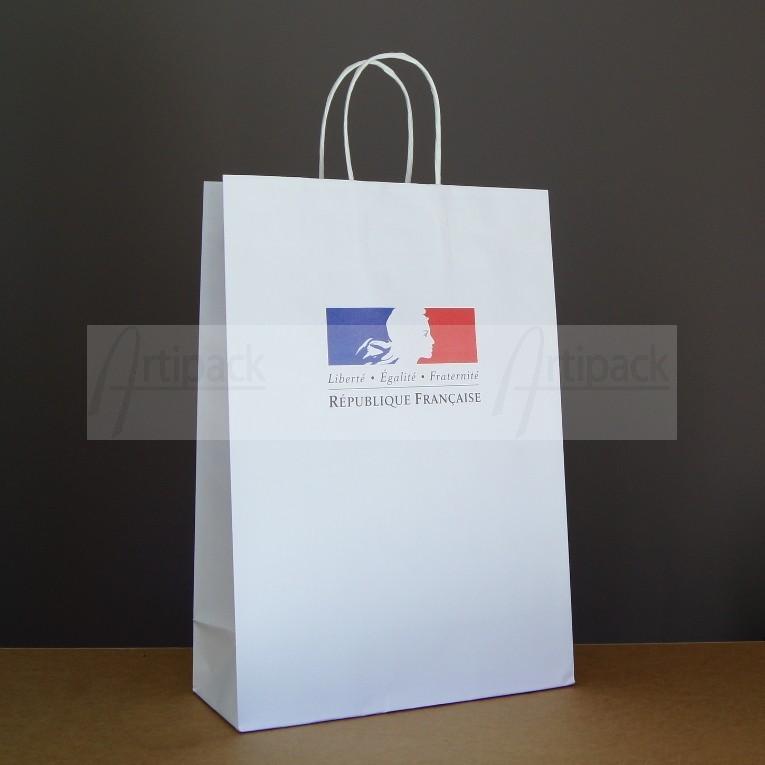sac cabas papier personnalis en kraft blanc pais qualitatif. Black Bedroom Furniture Sets. Home Design Ideas