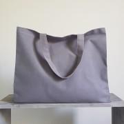 grand sac cabas en coton gris personnalisable