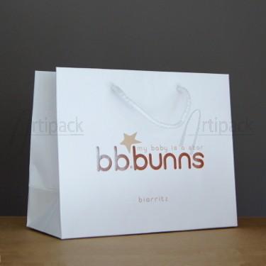 sac papier kraft blanc avec marquage à chaud or