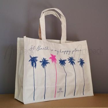 sac de plage en toile sérigraphié