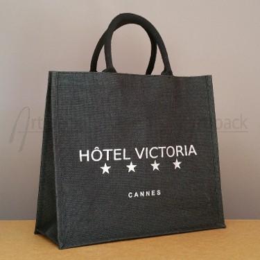 sac en toile de jute pour hôtel avec sérigraphie argent